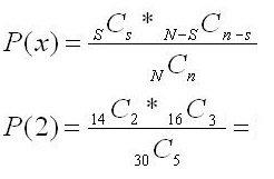 Hypergeometric Distribution Example